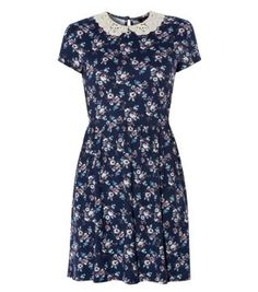 Blue Floral Print Crochet Collar T-Shirt Dress