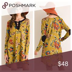 """🎉 NEW ARRIVAL 🎉 Floral Boho tunic dress Floral print shift dress featuring contrast suede detail v-neckline with lace-up detail. Elbow patch on sleeves. Unlined. Non-sheer. Color: Mustard. LENGTH: S-33"""", M-34"""", L-35"""".                     BUST: S-20"""", M-21"""", L-22"""". From armpit to armpit.  FABRIC : 95%POLYESTER 5%SPANDEX.               (Small 2/4). (Medium 6/8), (Large 10/12).   TK1525232. 2 a T Boutique  Dresses"""