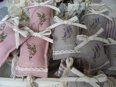 cross stitch lavender and rose sachet pillows