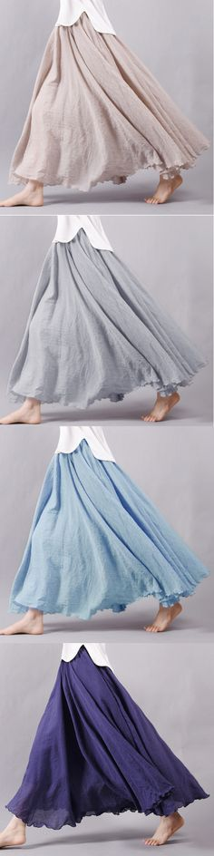 US$ 20.06 Gracila Women Casual Loose Cotton Pure Color Skirt