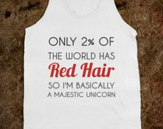 Red hair majestic unicorn Tank Top