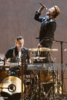 Drummer Larry Mullen Jr. and singer Bono of U2 perform on stage during the 'Joshua Tree 2017' Tour at CenturyLink Field on May 14, 2017 in Seattle, Washington.