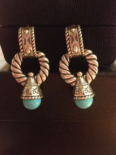 Carolyn Pollack Turquoise Earrings Signed Sterling Silver 925 Genuine Navajo Blue Vintage Relios Tribal Native American Southwestern Gift on Etsy, $45.00