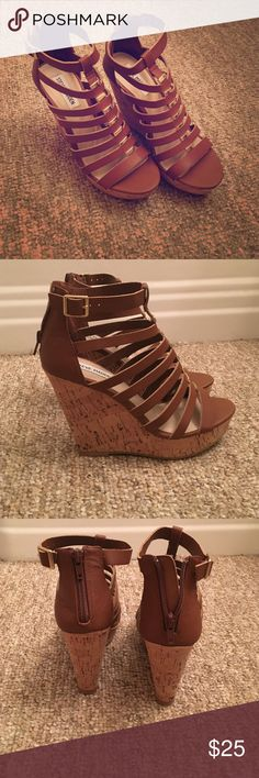 Steve Madden NWOT Size 7 Cognac Wedges Brand-new never worn size 7 Steve Madden cognac wedges with gold details on front straps. Zippered back. Buckle detail at ankle. 4 inch heel. Beautiful shoe!! Retails for $90!! Steve Madden Shoes Wedges