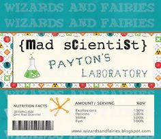Science Party... Party Favors Candy Wrapper Personalized