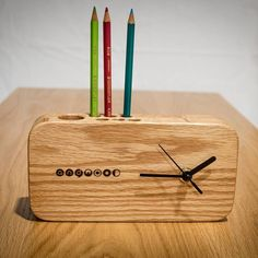 # redoak # Wooden furniture # Custom furniture # Custom furniture # Environment-friendly finish # wood table clock # table clock # Andwood – Irfan Putra – Join the world of pin Wall Clock Wooden, Wood Clocks, Wooden Art, Wooden Decor, Clock Art, Diy Clock, Clock Ideas, Wooden Pen Holder, Wall Clock Design