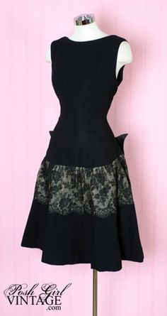 1950's Mr. Blackwell Black Bow Lace Evening Dress - front view
