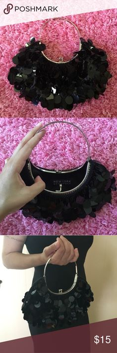 New York & Company Black Clutch Frilly Purse Such a cute little bag. Great condition. Nice for a night out or a special evening. No trades. Open to offers. New York & Company Bags Clutches & Wristlets