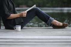 books, teas, peaceful places, jeans, morning coffee, lake, moccasin, cup of coffee, mornings