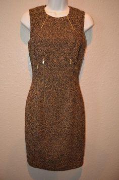 NWT $1795 Sz 4 Michael Kors Brown/Gold Sleeveless Barkley Wool Blend Dress #MichaelKors #Sleeveless #Cocktail