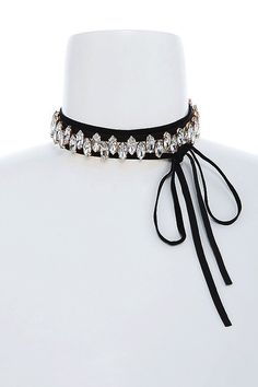 Celebrity Style Bow Tie Black Suede & Crystal Choker Necklace