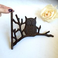 Cast Iron Owl Wall Hook / Owl Wall Hook / Wall Decor / Owl by EllasAtticVintage on Etsy