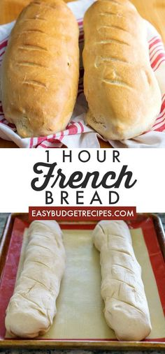 This French Bread recipe takes just one hour from start to finish. It makes 2 la… This French Bread recipe takes just one hour from start to finish. It makes 2 large loaves that serve 8 people each and will cost just per serving! Easy French Bread Recipe, Easy Bread Recipes, Cooking Recipes, Recipe For Making Bread, Basic Bread Recipe No Yeast, 2 Loaf Bread Recipe, Light Bread Recipe, Sweet Bread Dough Recipe, Easy French Recipes