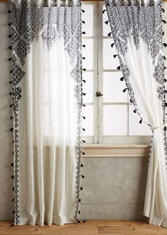 Blinds And Curtains Together Anthropologie.Curtains Drapes And Window Coverings Crate And Barrel. Home Design Ideas Bohemian Curtains, Tassel Curtains, Diy Curtains, Bohemian Decor, Moroccan Curtains, Window Curtains, Black Curtains Bedroom, Eclectic Curtains, Dark Blue Curtains