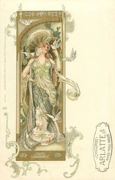 woman wearing green, doves on left hand & right shoulder, two flying, she looks right