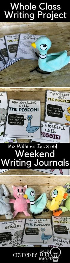 Did you purchase the wonderful stuffed animals Kohl's had this summer? I LOVE Mo Willems and when I saw these, I RAN to Kohl's. I decided to create these weekend journals to go along with them. Each Friday, a students will take home a journal and stuffed animal. They will document their weekend adventures, then share their journal entry with the class on Monday!