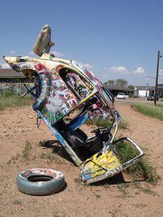 From our American Land Art Tour, September 2012. The VW Bug Slug Ranch, Amarillo, Texas, U.S.
