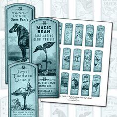 Fantasy Magic Potion Labels II BLUE digital collage sheet 1x3 dapple horse bird song by magicpug on Etsy https://www.etsy.com/listing/63517332/fantasy-magic-potion-labels-ii-blue