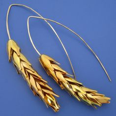 Wheat Stalk Earrings available in silver and golden!