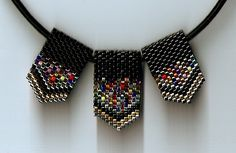 Mini Black Confetti 3 Panel Necklace