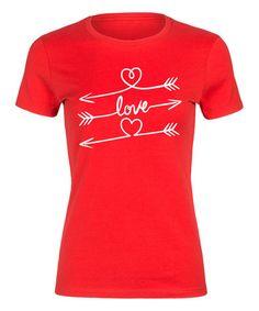 Look at this #zulilyfind! Red 'Love' Arrows Fitted Tee #zulilyfinds