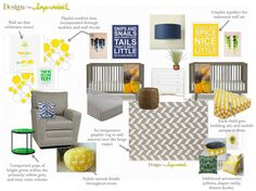 Modern yellow, grey, and navy twin nursery -  mood board