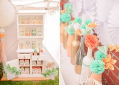 Mint & Peach Circus Themed Party for Girls- love the flowers in the vases