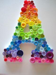 button letters...  A de amor colorido