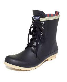 Tommy Hilfiger Women's Renegade Rain Booties Size 11 Black Rubber #size #black #rubber #booties #rain #hilfiger #womens #renegade #tommy