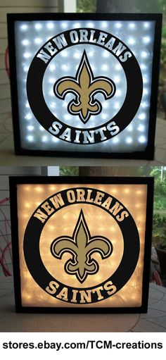 NFL National Football League New Orleans Saints shadow boxes with LED lighting & multiple colored vinyl decals