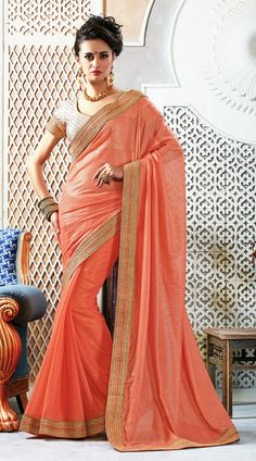 Marvellous Peach Chiffon Supercoat Party Wear Saree With Stone Work Blouse  AK126132  Pretty Peach color saree crafted on chiffon supercoat and fancy material fancy material. The saree is crafted stone, zari and embroidery work. Contrast stone work blouse piece attached with this sari. The blouse of this saree can be stitched in the maximum bust size of 42 inches.