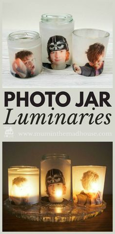 Photo Jar Luminaries Upcycle glass jars into a stunning glowing photo jar luminaries. This beautiful photo luminaries glow when you add a candle and make the perfect gifts. What a fun DIY craft. Mason Jar Crafts, Mason Jar Diy, Bottle Crafts, Photo Candles, Diy Candles, Candle Jars, Candle Craft, Diy Candle Luminaries, Mason Jar Gifts