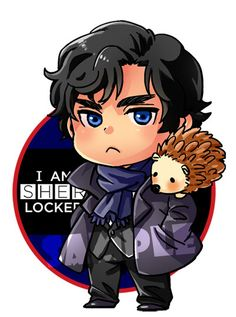 No one pouts as adorably as Sherlock! And look! He's got Martin, his attack hedgehog! @Annika Shelley