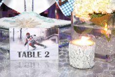 Ski Theme Table Numbers - Bar Mitzvah Party at SPACE NJ {Chris Herder Photography} - mazelmoments.com
