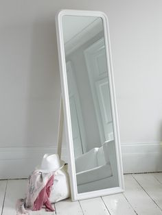 Isabella Vintage Grey Shabby Chic Full Length Antique Cheval Mirror