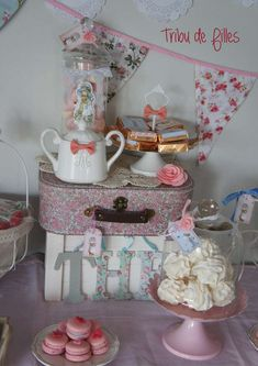 Decor at a shabby chic birthday party! See more party ideas at CatchMyParty.com!