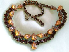 Vintage Schiaparelli Amber Art Glass and Brown Rhinestone Choker Necklace
