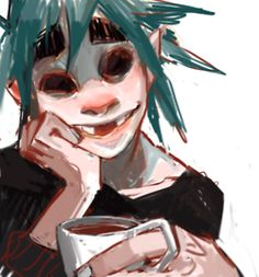 art Fanart sketchy Gorillaz 2d Gorillaz Murdoc back when Murdoc wasn't so green but I like itttt I can't help but give 2d elf ears >w>;;