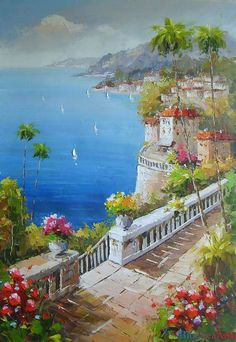 ART~ Romantic Mediterranean~ Original Oil Painting ~ by BlueSeaArts via Etsy