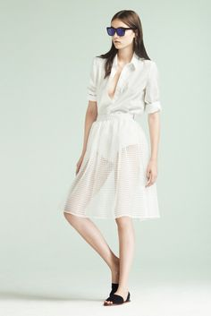 White button down and a white perforated skirt * Elizabeth & James