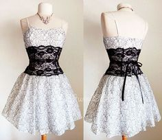 NEW-Off-White-Black-Lace-Inset-Bow-Victorian-Inspired-GOTH-Corset-Bustier-Dress