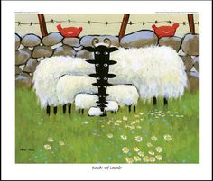 Giclee Print - Rack Of Lamb - Thomas Joseph Joseph, Sheep Illustration, Sheep Art, Sheep And Lamb, Irish Art, Naive Art, Illustrations, Whimsical Art, Painting Inspiration