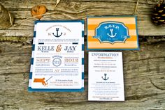 nautical wedding information card | Wedding Invitation Rustic and Nautical Anchor by WideEyesDesign