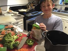 """Want your kid to #EatMoreVeggies? @melindaneely suggests having a #CookOff with them!   """"This idea emerged when Luke, my 11-year-old son, told me he wanted to make his own soup – no recipe allowed. Since I was a bit concerned we'd have a inedible meal, I wagered a little bet on who could make the best soup."""""""