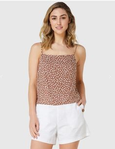 Elwood Coco Cami in Cocoa Spot. The Coco Cami has a squared neckline, relaxed fit and thin straps. It features back tie and is made from a soft cotton making for an easy lightweight wear for hours in the sun. Beauty Boutique, Fashion Boutique, Outfit Shop, Girls Wardrobe, Cocoa, Cami, Neckline, Australia, Clothes For Women