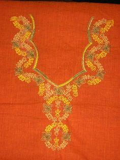 Designs for AARI  Hand embroidery Old + New-sample-115-chudidhar-neck-flower