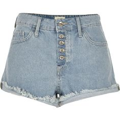 River Island Light blue wash distressed Ruby denim shorts ($56) ❤ liked on Polyvore featuring shorts, bottoms, torn shorts, ripped denim shorts, mid rise shorts, tall shorts and distressed jean shorts