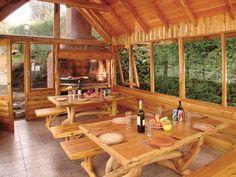Place to put your description text Outdoor Spaces, Outdoor Living, Outdoor Decor, Modern Exterior Lighting, Bungalow, Parrilla Exterior, Gazebo, Backyard Bar, Log Homes