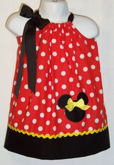 Minnie Mouse Pillowcase Dress / Red & White Dots / Disney / Character / Infant / Baby / Girl / Toddler / Birthday / Custom Boutique Clothing on Etsy, $30.00