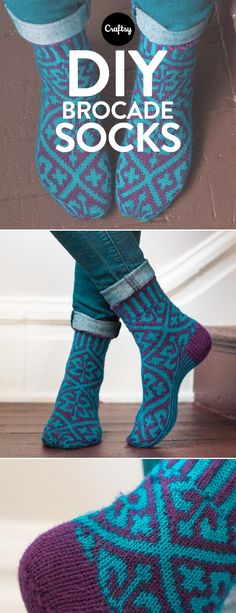 We love the beautiful brocade design in this knitted sock pattern. Shop the kit and you'll receive a pattern and stretchy Cloudborn Highland Superwash Sock Twist yarn.